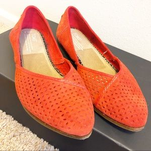 Toms Red Jutti Flats Perforated Suede Size 8.5